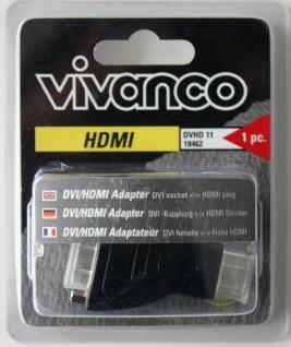 Vivanco Adapter DVI Buchse HDMI Stecker Kupplung Verbinder Full HD für TV PS3
