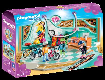 Playmobil 9402 Bike & Skate Shop City Life Skateboard BMX Inline-Skates Laden