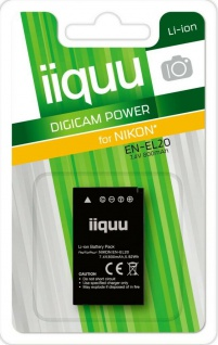 GP iiquu Li-Ion Akku für Nikon EN-EL20 ENEL20 1 J1 J2 J3 S1 AW1 CoolPix A etc