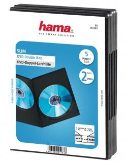 Hama 5x Slim DVD-Hülle 2 DVDs 2er 2-Fach Leer-Hüllen Box CD DVD Blu-Ray Disc