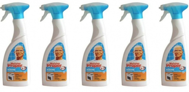 5x Meister Proper 3in1 Küchen-Reiniger 500ml Spray Reinigung Fettlöser Haushalt