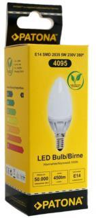 Patona LED Birne E14 5W / 40W Kerze Warm-Weiß LED-Lampe Glühbirne Leuchtmittel