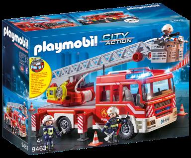 Playmobil 9463 Feuerwehr-Leiterfahrzeug Feuerwehrwagen Sirene Feuerwehrmänner