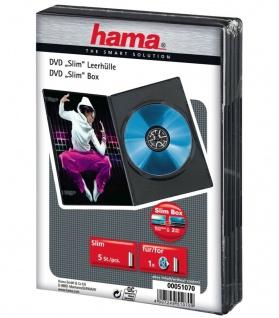 Hama 5x PACK Slim DVD-Hüllen 1er 1-Fach Leer-Hülle Box für CD DVD Blu-Ray Disc