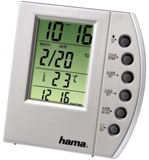 Hama LCD Thermometer TC-100 Digital Uhr Kalender Wecker