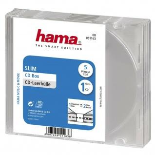 Hama 5x CD-Hüllen Slim-Case Leer-Hüllen CD DVD Blu-Ray BR CD-Taschen 5, 2mm Hülle