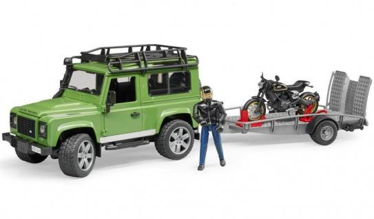 Bruder 02598 Land Rover Station Wagon mit Anhänger Scrambler Ducati Cafe Racer