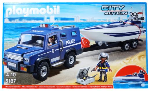 Playmobil 5187 City Action Polizeitruck mit Speedboot Polizei Spielzeug Junge