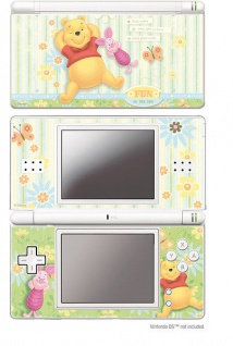 Design Folie Schutzfolie Skin Motiv Winnie Pooh Ferkel Spaß für Nintendo DS Lite
