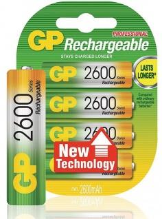 GP Premium Pack 4x AA-Akku 2600mAh Ni-MH Wiederaufladbar Mignon Batterie AA Akku