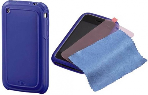 Hama Silikon Skin + Folie Schutz-Hülle Tasche Case Cover für Apple iPhone 3G 3GS