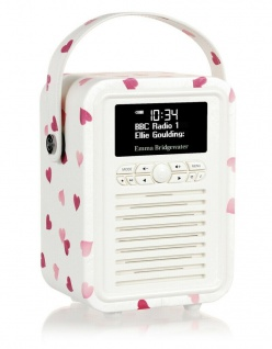 VQ Retro Mini Digital-Radio Pink Heart DAB DAB+ FM Bluetooth Weckfunktion Wecker