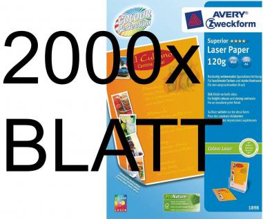 2000 Blatt 120g A4 Avery Zweckform Colour-Laser Papier Superior weiß matt Color