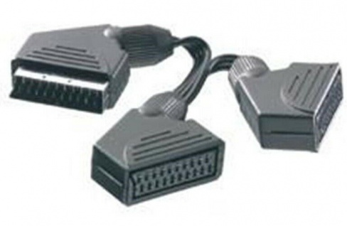 Vivanco Scart Y-Adapter Scart-Kabel Scart-Y Verteiler für TV DVD Video Receiver