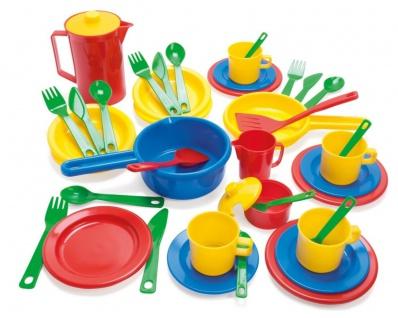 Dantoy 4223 Küchenspielset Kinder-Küche Besteck Spielzeug buntes Spiel-Geschirr