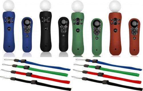 PACK 4x Silikon Skin Handschlaufe Schutz-Hülle für Sony PS3 PS4 Move Controller