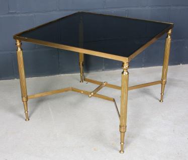 Antiquität schöner Art Deco Glas-Tisch Bronze Beistelltisch Gold Cafe Sofa Couch
