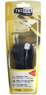 Vivanco 10m RJ45 Modular Anschluss-Kabel 8P4C-Stecker Western ISDN-Kabel NTBA