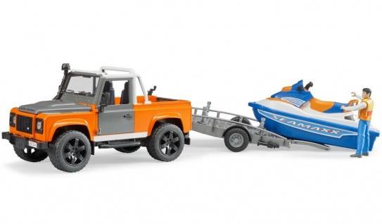 Bruder 02599 Land Rover Pickup Fahrzeug mit Anhänger Water-Craft Jet-Ski 1:16