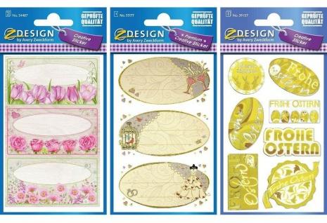 Avery Creative Sticker Geschenk-Aufkleber Beschriftung Etiketten Blumen Hochzeit