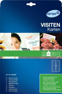 Avery Zweckform 100x Visitenkarten 250g matt glatte Kanten Bögen für A4 Drucker