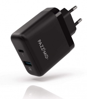 Pazzimo Netz-Ladegerät 6A 33W USB-C + USB-A QC 3.0 Netzteil für Notebook Tablet