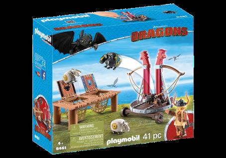 Playmobil 9641 Grobian mit Schafschleuder Dragons Schaf-Wurf Schuss-Vorrichtung