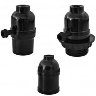 Lampen Fassung E27 vintage 250V 4A Sockel Halter Kunststoff schwarz Schalter
