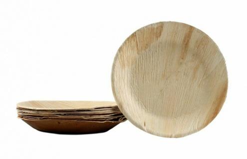 30x Palmblatt Teller rund Party Einweg-Geschirr Bio kompostierbar Größe 25 cm