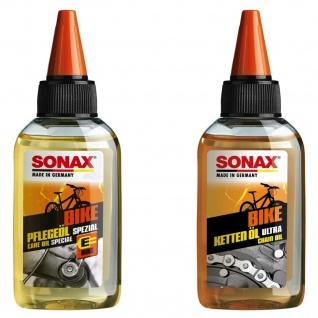 Sonax Set Spezial Fahrrad-Öl + Silikon Ketten-Öl Pflege-Öl Flasche MTB E-Bike