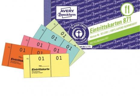 Avery Zweckform 500x Eintrittskarten Nummeriert Gelb 5x Block Eintrittskarte
