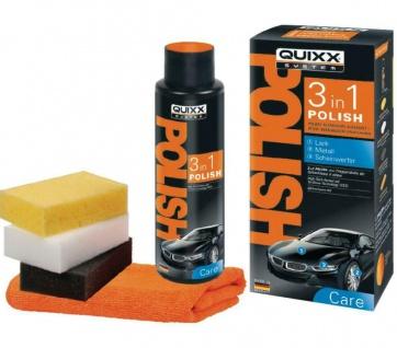 QUIXX Polish 3in1 Set 500ml Auto-Politur Kfz Pflege für Lack Metall Scheinwerfer