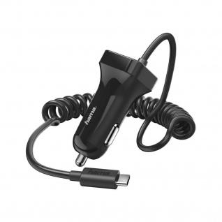 Hama Kfz-Ladegerät Schnell-Ladekabel USB-C Auto 1m Spiral-Kabel für Handy Tablet
