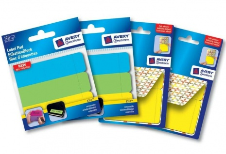 Avery PACK 4x Klebe-Etiketten Haft-Notizen-Block Sticky Notes Flags Haftstreifen