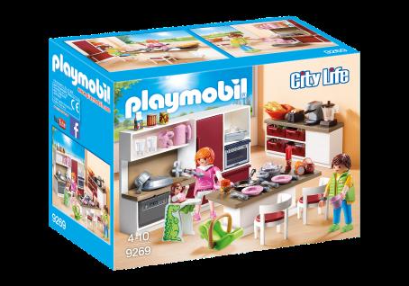 Playmobil 9269 Große Familienküche Familie Küchen-Ausstattung Puppenhaus Herd