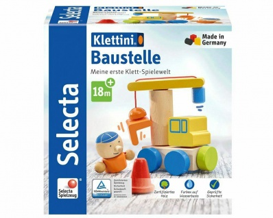 Selecta 62075 Klettini Baustelle Holzspielzeug für Kleinkinder Stapelspielzeug