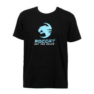 Roccat Gaming Baumwoll T-Shirt Slim Fan-Artikel hochwertiger Aufdruck Schwarz M