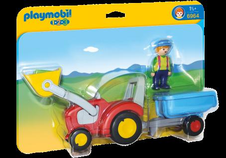 Playmobil 6964 Traktor mit Anhänger Bauernhof Spielzeug mit beweglicher Schaufel