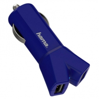 Hama 3, 4A Speed 2-Port USB Auto Kfz Schnell-Ladegerät Zigarettenanzünder Blau