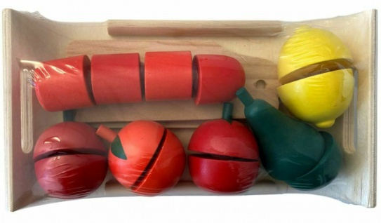 Funtoys Holz Lebensmittel-Set Gemüse Obst mit Messer Kinder Kaufladen Küche Korb