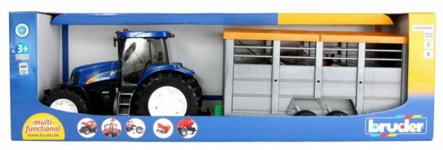 Bruder 01695 New Holland T8040 mit Viehtransportanhänger und 1 Rind Traktor-Set