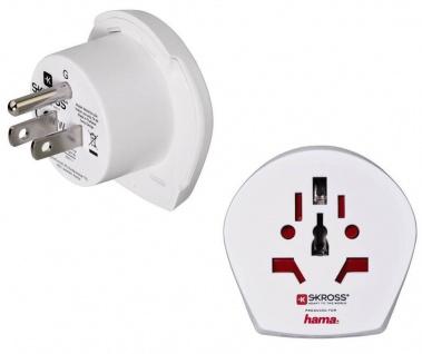 SKROSS Reise-Stecker Strom-Adapter Welt USA | Euro EU DE Schweiz UK > US Canada
