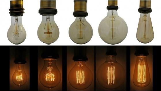 Edison Glüh-Birne Vintage E27 Design Retro Glüh-Lampe Nostalgie Kohlefaden Deko