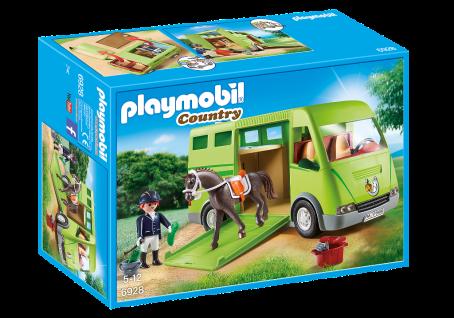 Playmobil 6928 Pferdetransporter Pferdemobil Pferde-Wagen Reiterin Pferd Zubehör