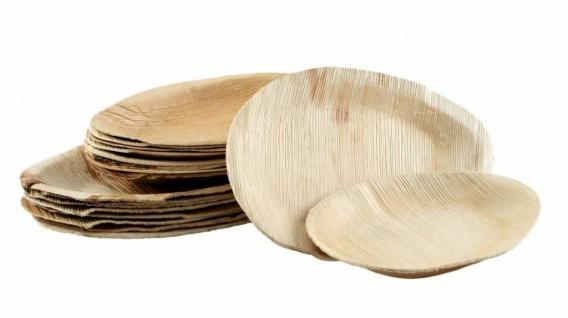100x Palmblatt Party-Teller oval Eco-Geschirr nachhaltig kompostierbar 2 Größen