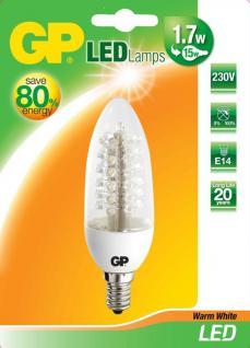 GP LED Kerze klar E14 1, 7W/17W 2850K Warmweiß Lampe Birne Glühbirne Leuchtmittel