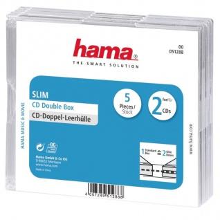 Hama 5x CD-Hüllen 2x CDs CD-ROM Slim Leer-Hülle DVD-Hüllen 5er Pack Jewel Case