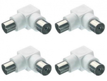 4x Vivanco Winkel Koaxial-Adapter Koax-Adapter Stecker - Buchse Antennen-Kabel