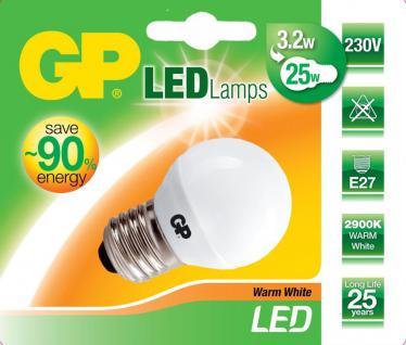 GP LED Mini Birne E27 3, 2W / 25W Warmweiß LED-Lampe Golf-Ball Kugel Leuchtmittel