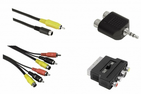 Hama Kabel-Set 5m Scart-Kabel S-Video 2x Cinch-Kabel Adapter für PC Notebook TV